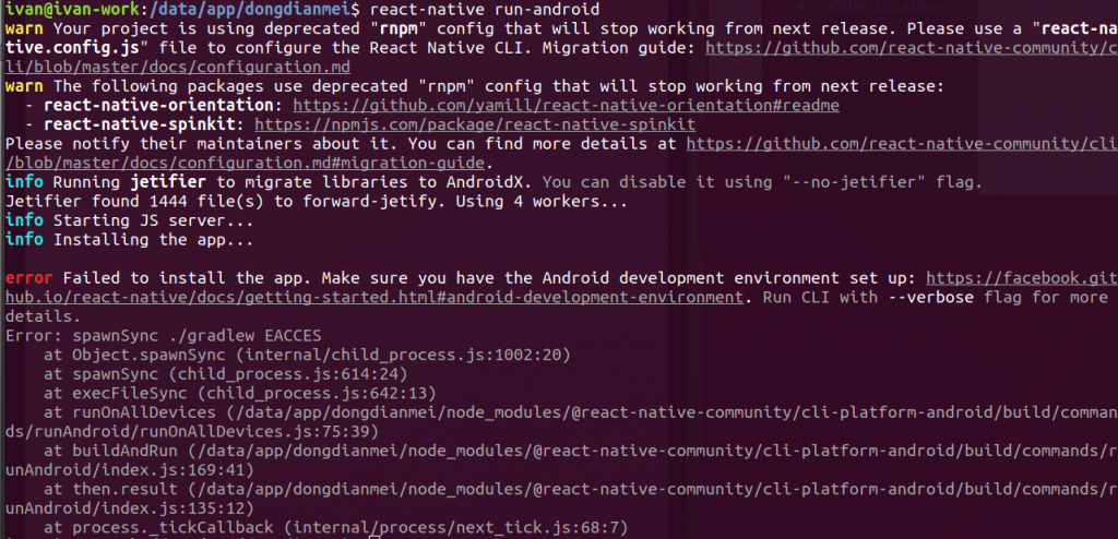 解决react-native run-android 时出现Error: spawnSync  /gradlew EACCES